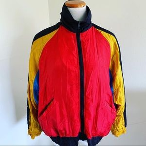 Jackets & Blazers - Vintage 80s color block silk track jacket.